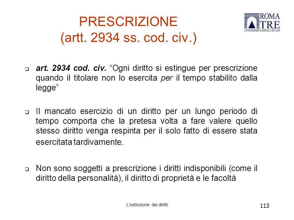 113 PRESCRIZIONE (artt.2934 ss. cod. civ.)  art.