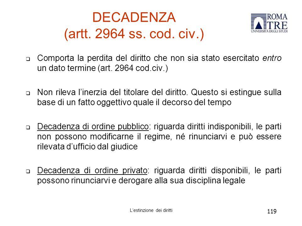 119 DECADENZA (artt.2964 ss. cod.