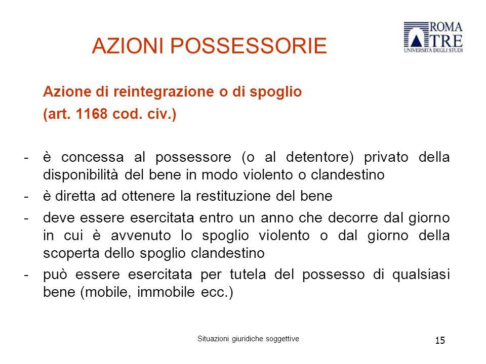 15 AZIONI POSSESSORIE Azione di reintegrazione o di spoglio (art.