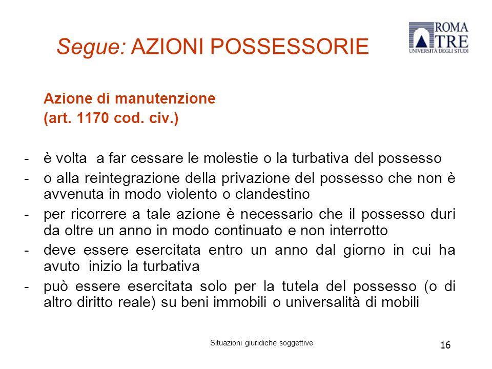 16 Segue: AZIONI POSSESSORIE Azione di manutenzione (art.