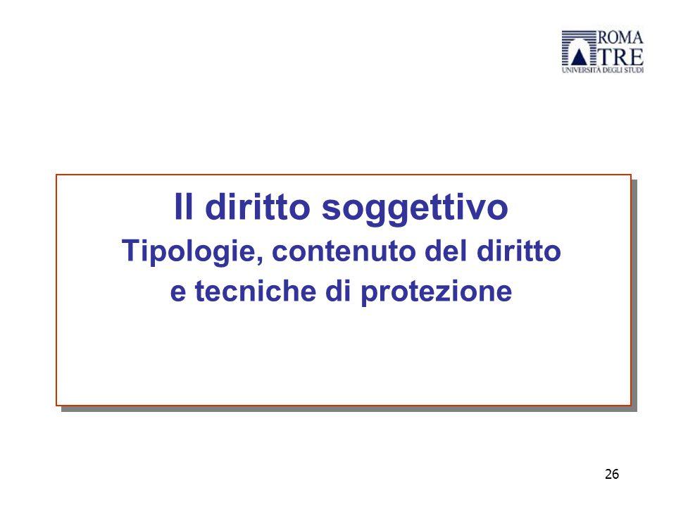 Il diritto soggettivo Tipologie, contenuto del diritto e tecniche di protezione 26