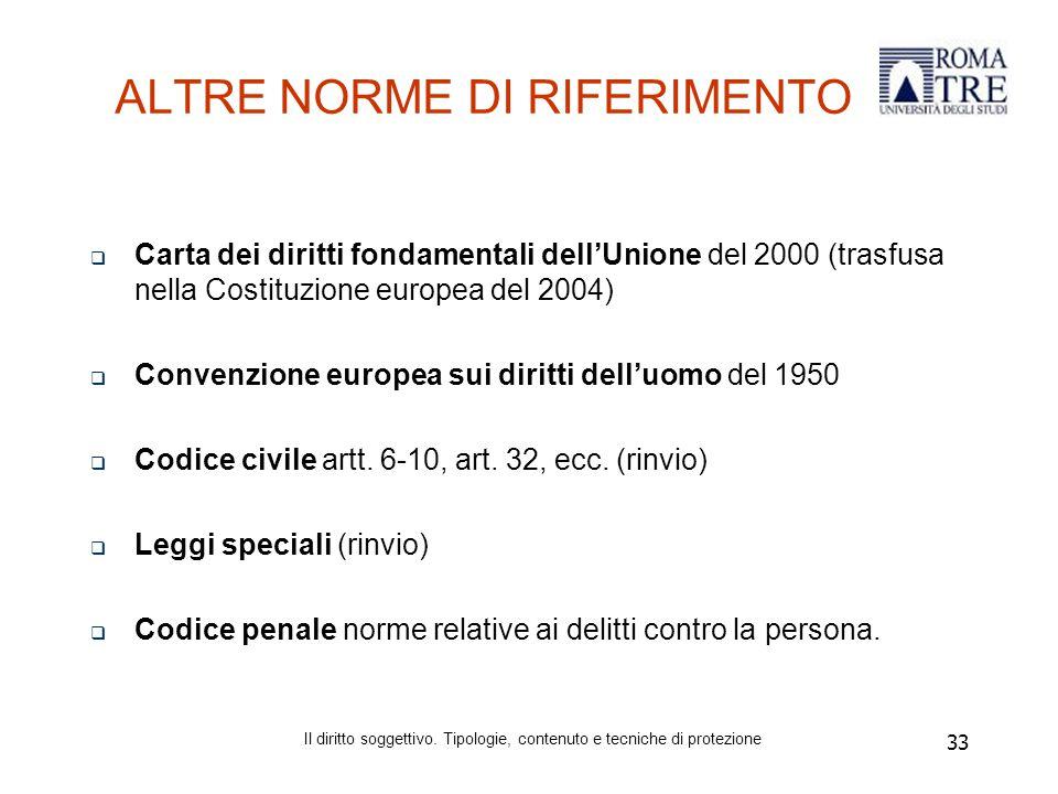 33 ALTRE NORME DI RIFERIMENTO  Carta dei diritti fondamentali dell'Unione del 2000 (trasfusa nella Costituzione europea del 2004)  Convenzione europea sui diritti dell'uomo del 1950  Codice civileartt.