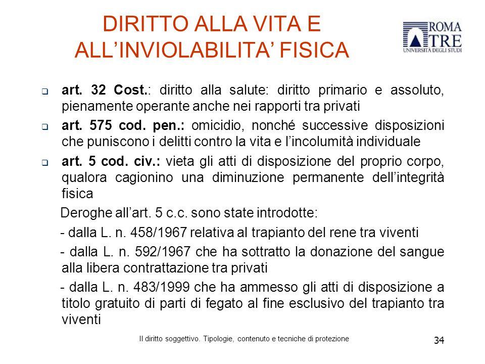 34 DIRITTO ALLA VITA E ALL'INVIOLABILITA' FISICA  art.