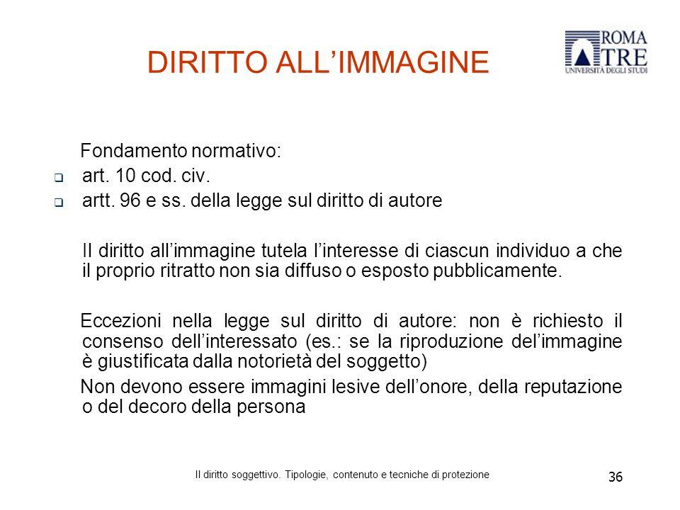 36 DIRITTO ALL'IMMAGINE Fondamento normativo:  art.