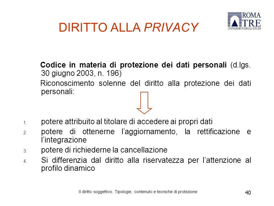 40 DIRITTO ALLA PRIVACY Codice in materia di protezione dei dati personali (d.lgs.