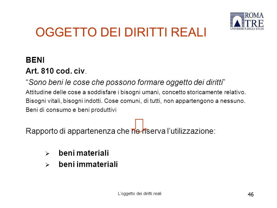 46 OGGETTO DEI DIRITTI REALI BENI Art.810 cod. civ.