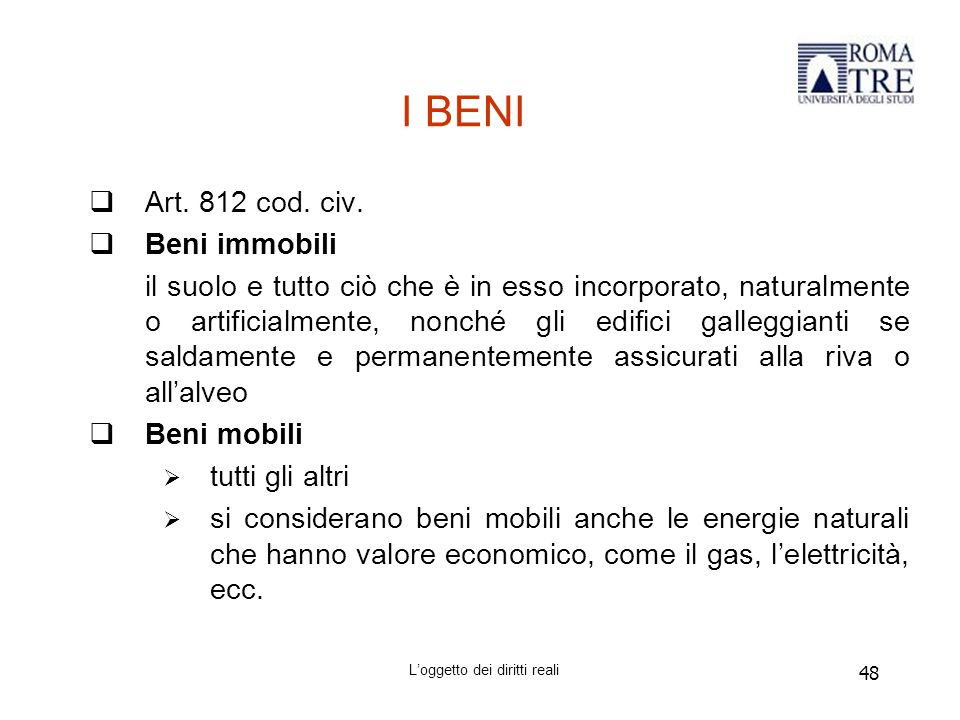 48 I BENI  Art.812 cod. civ.