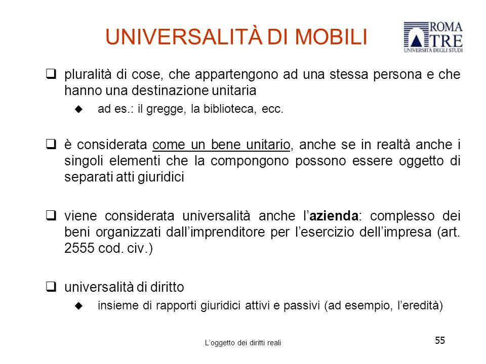 55 UNIVERSALITÀ DI MOBILI  pluralità di cose, che appartengono ad una stessa persona e che hanno una destinazione unitaria  ad es.: il gregge, la biblioteca, ecc.
