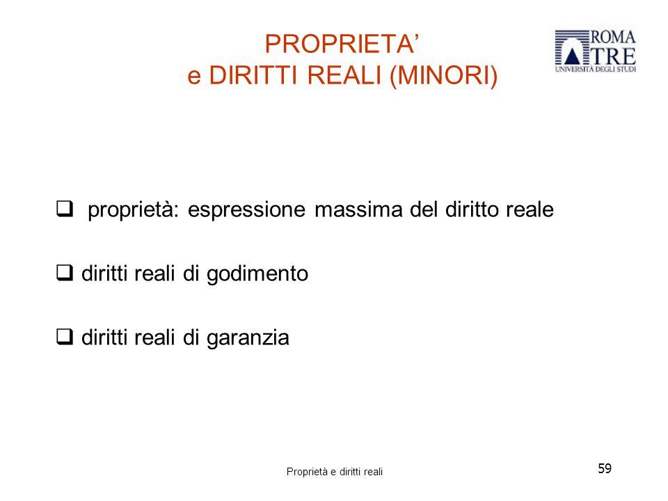 59 PROPRIETA' e DIRITTI REALI (MINORI)  proprietà: espressione massima del diritto reale  diritti reali di godimento  diritti reali di garanzia Proprietà e diritti reali