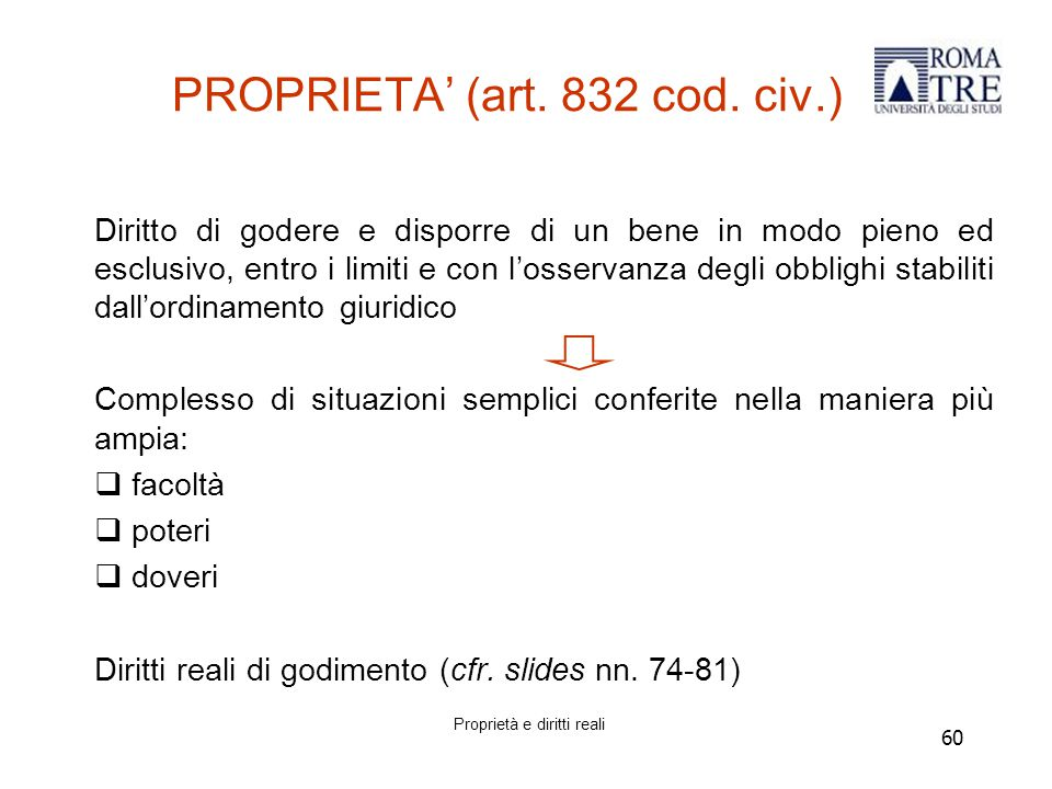 60 PROPRIETA' (art.832 cod.