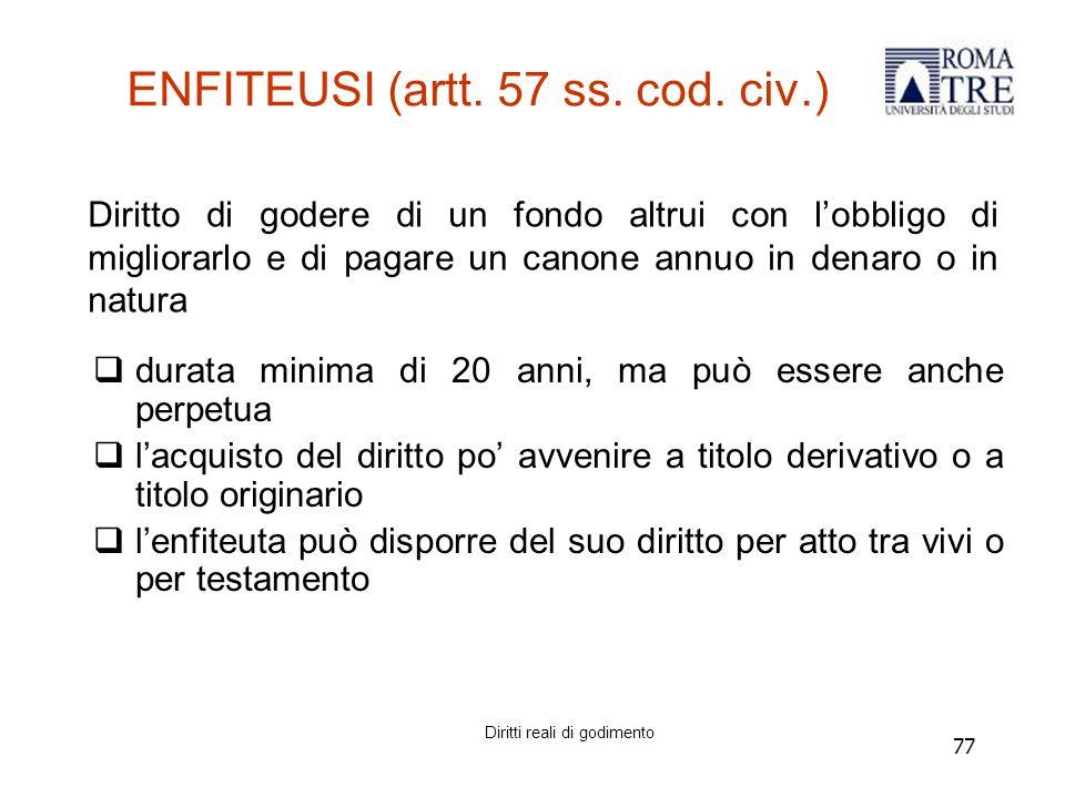 77 ENFITEUSI (artt.57 ss. cod.