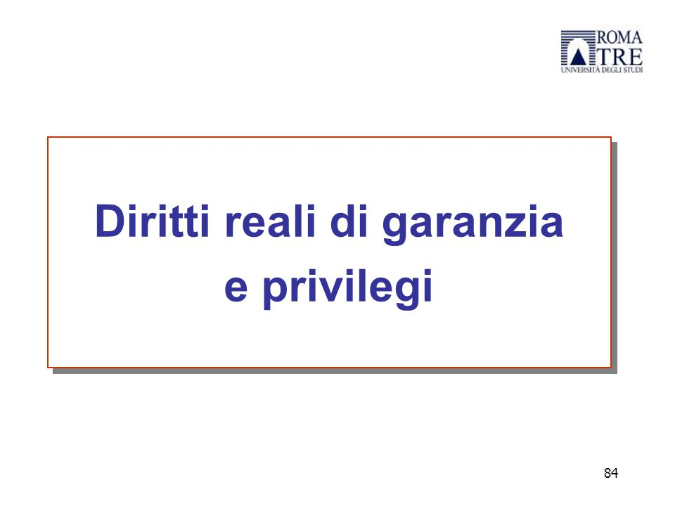 Diritti reali di garanzia e privilegi Diritti reali di garanzia e privilegi 84