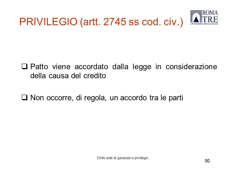 90 PRIVILEGIO (artt.2745 ss cod.