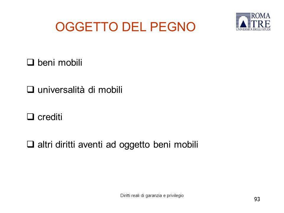 93 OGGETTO DEL PEGNO  beni mobili  universalità di mobili  crediti  altri diritti aventi ad oggetto beni mobili Diritti reali di garanzia e privilegio