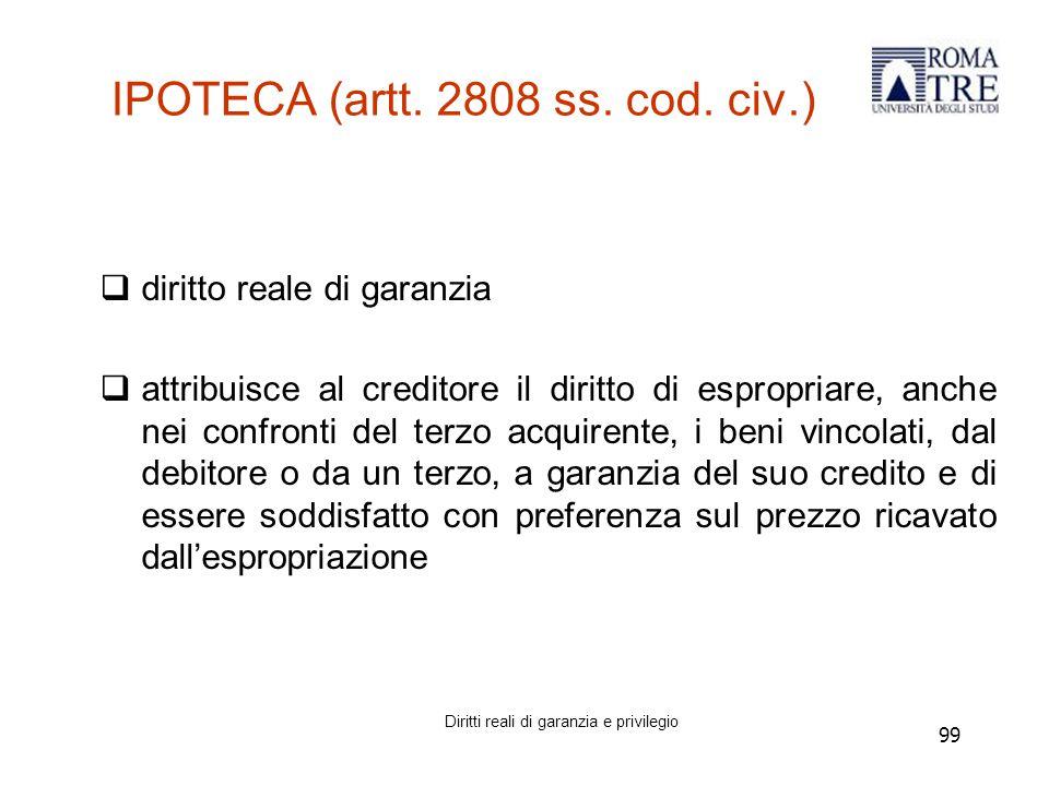 99 IPOTECA (artt.2808 ss. cod.