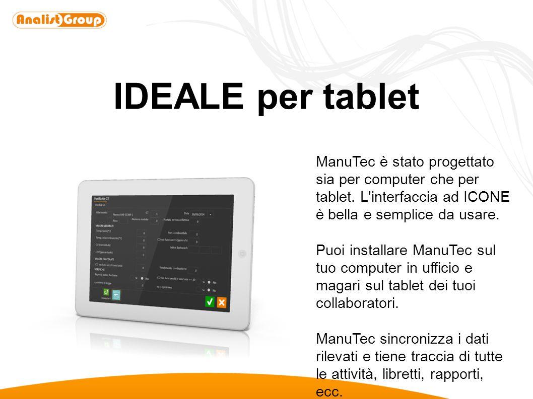 IDEALE per tablet ManuTec è stato progettato sia per computer che per tablet. L'interfaccia ad ICONE è bella e semplice da usare. Puoi installare Manu