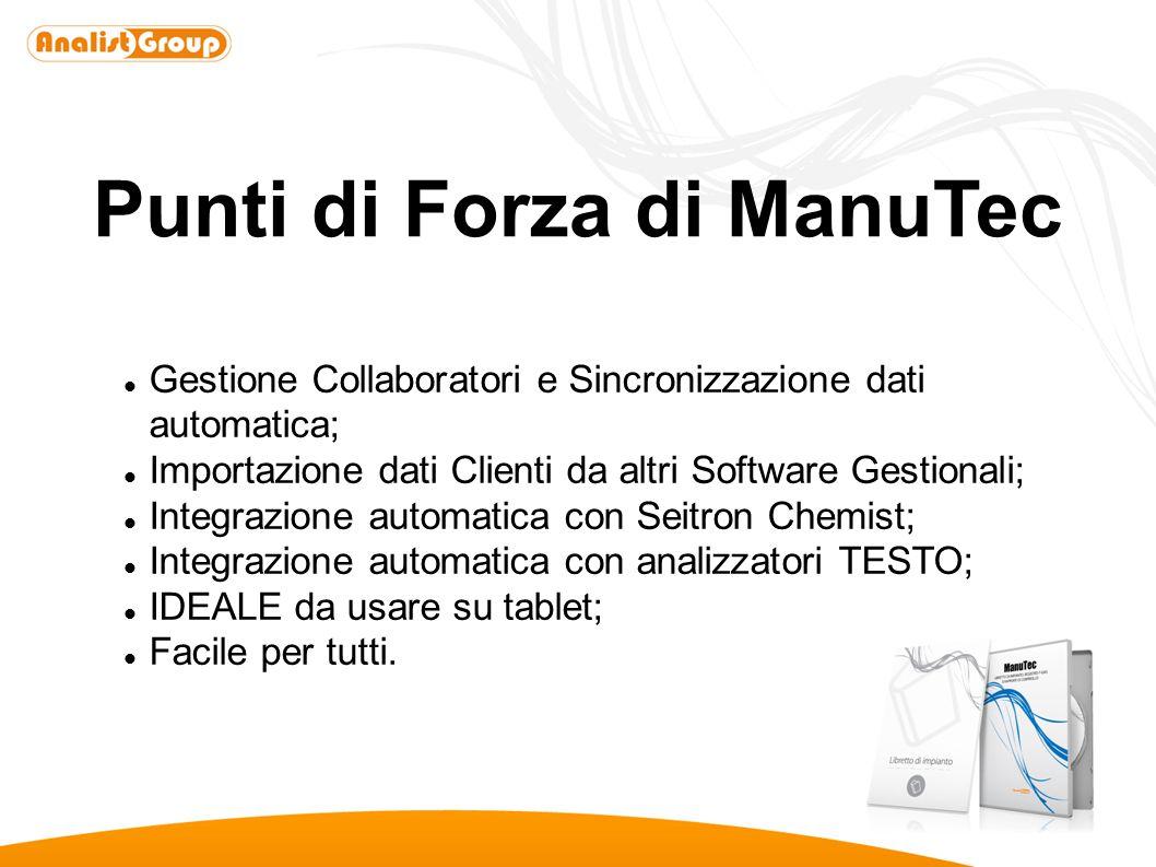 Punti di Forza di ManuTec Gestione Collaboratori e Sincronizzazione dati automatica; Importazione dati Clienti da altri Software Gestionali; Integrazi