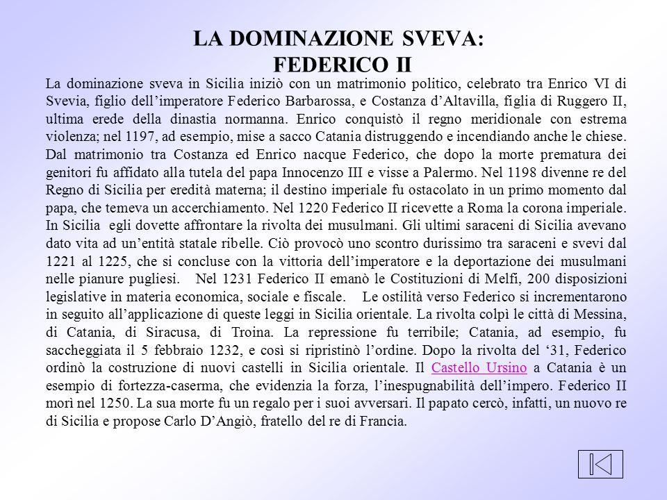 La dominazione sveva in Sicilia iniziò con un matrimonio politico, celebrato tra Enrico VI di Svevia, figlio dell'imperatore Federico Barbarossa, e Co