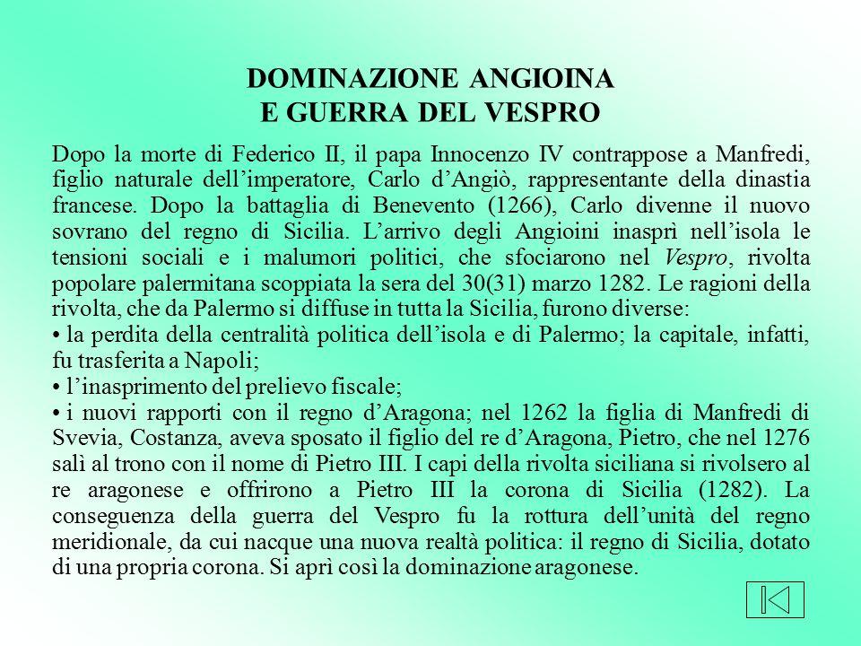Dopo la morte di Federico II, il papa Innocenzo IV contrappose a Manfredi, figlio naturale dell'imperatore, Carlo d'Angiò, rappresentante della dinast