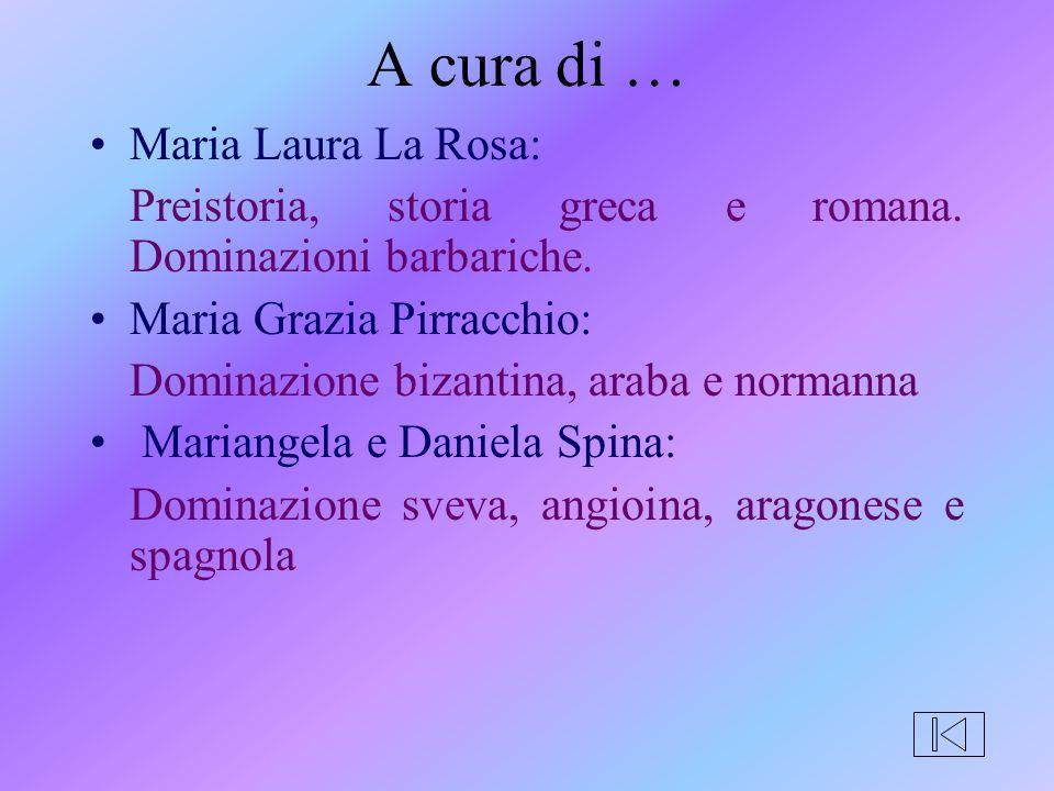 A cura di … Maria Laura La Rosa: Preistoria, storia greca e romana. Dominazioni barbariche. Maria Grazia Pirracchio: Dominazione bizantina, araba e no