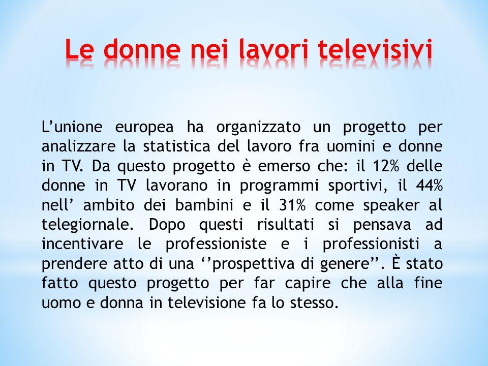 L'unione europea ha organizzato un progetto per analizzare la statistica del lavoro fra uomini e donne in TV.