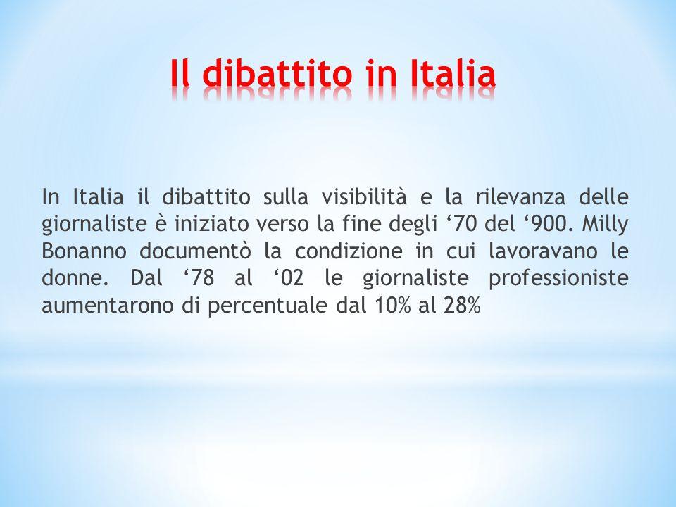 In Italia il dibattito sulla visibilità e la rilevanza delle giornaliste è iniziato verso la fine degli '70 del '900.