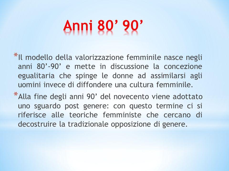 * Il modello della valorizzazione femminile nasce negli anni 80'-90' e mette in discussione la concezione egualitaria che spinge le donne ad assimilarsi agli uomini invece di diffondere una cultura femminile.