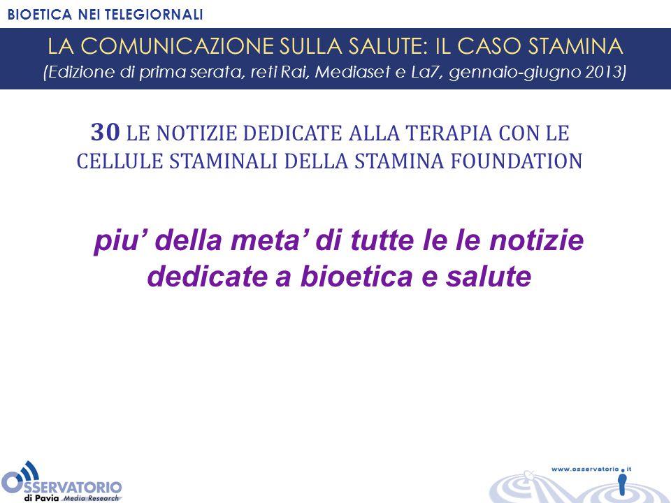 BIOETICA NEI TELEGIORNALI LA COMUNICAZIONE SULLA SALUTE: IL CASO STAMINA (Edizione di prima serata, reti Rai, Mediaset e La7, gennaio-giugno 2013) 30