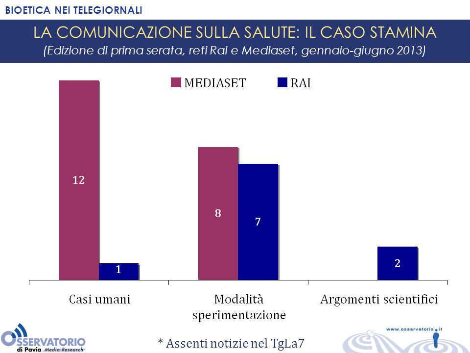 BIOETICA NEI TELEGIORNALI LA COMUNICAZIONE SULLA SALUTE: IL CASO STAMINA (Edizione di prima serata, reti Rai e Mediaset, gennaio-giugno 2013) * Assent