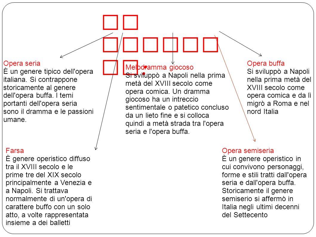 SI DIVIDE IN : Opera seria È un genere tipico dell opera italiana.
