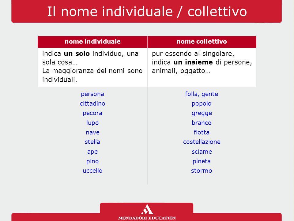 Il nome individuale / collettivo nome individualenome collettivo indica un solo individuo, una sola cosa… La maggioranza dei nomi sono individuali.