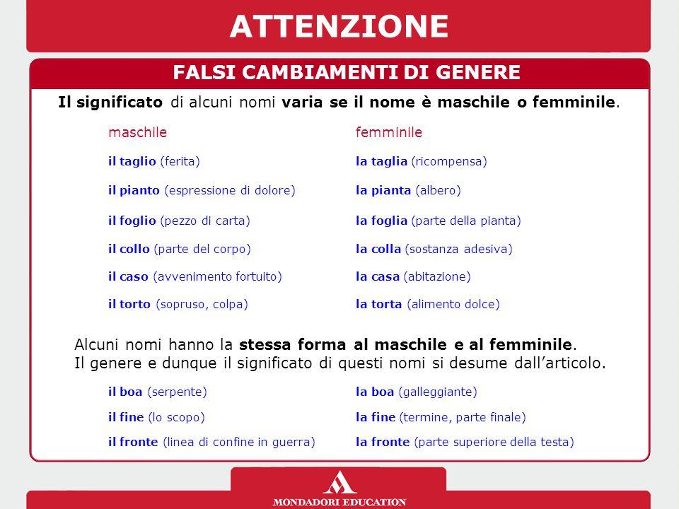 ATTENZIONE FALSI CAMBIAMENTI DI GENERE Il significato di alcuni nomi varia se il nome è maschile o femminile.