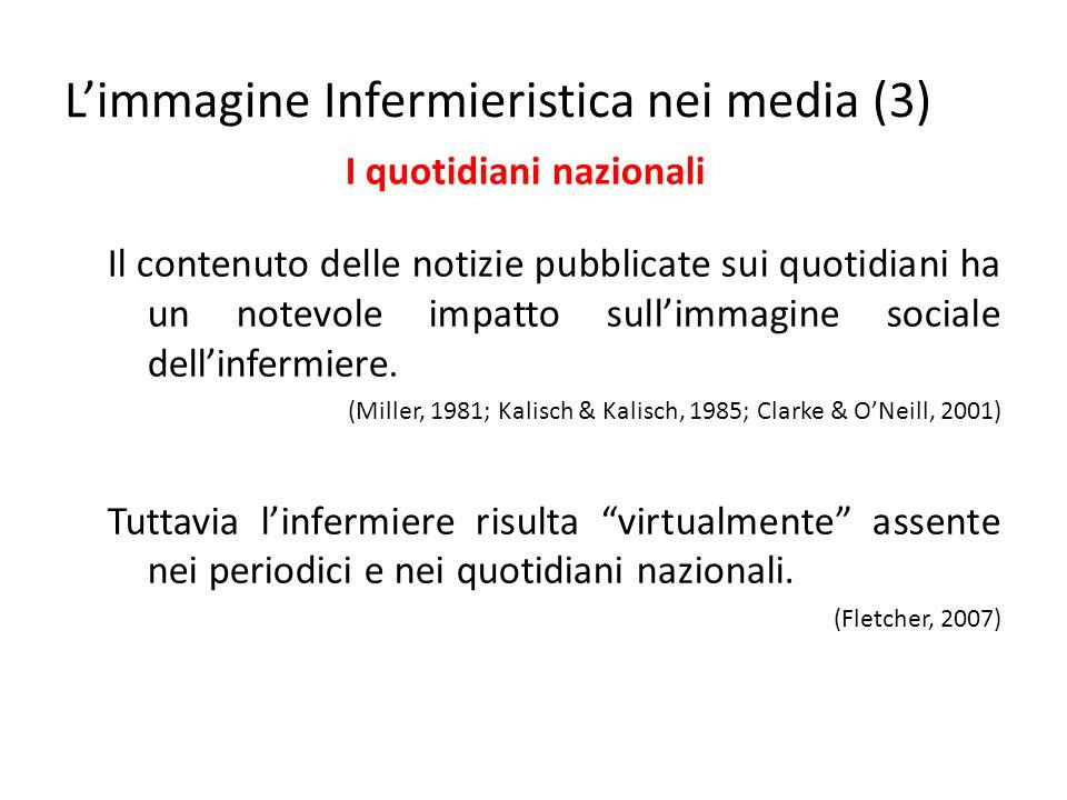 Il contenuto delle notizie pubblicate sui quotidiani ha un notevole impatto sull'immagine sociale dell'infermiere. (Miller, 1981; Kalisch & Kalisch, 1