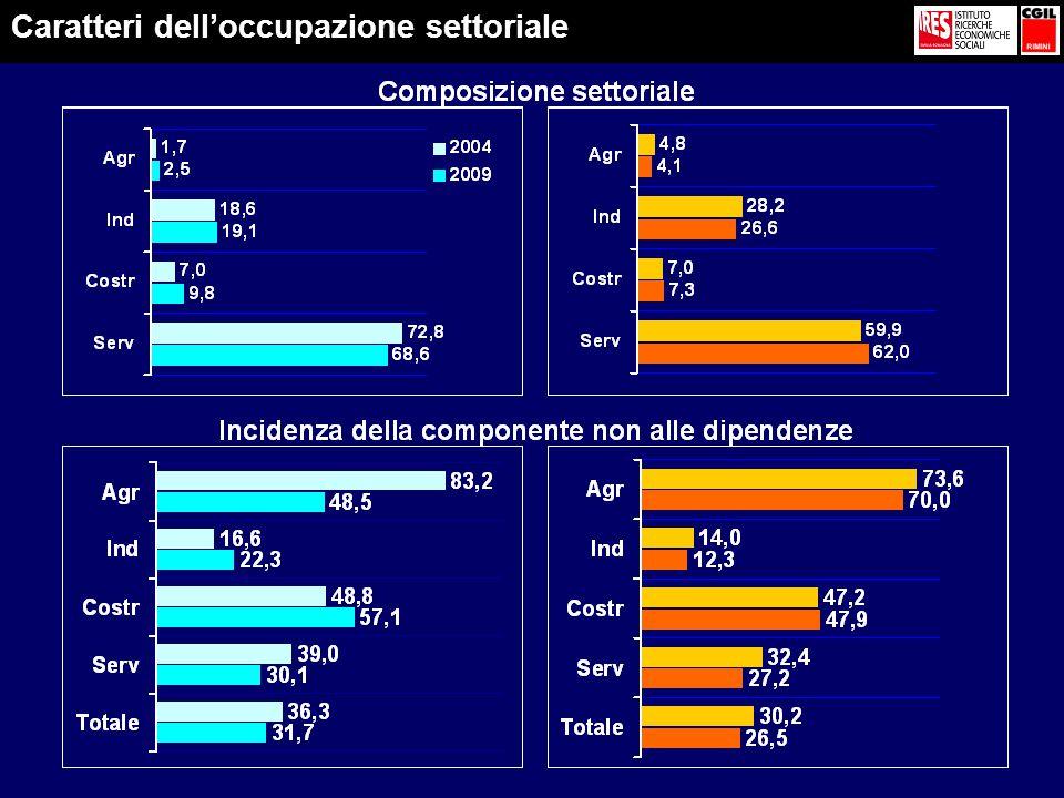 Caratteri dell'occupazione settoriale