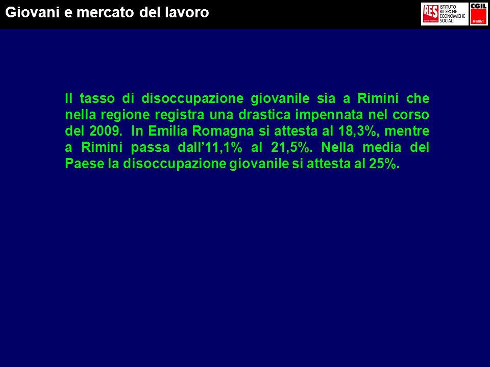 Il tasso di disoccupazione giovanile sia a Rimini che nella regione registra una drastica impennata nel corso del 2009.