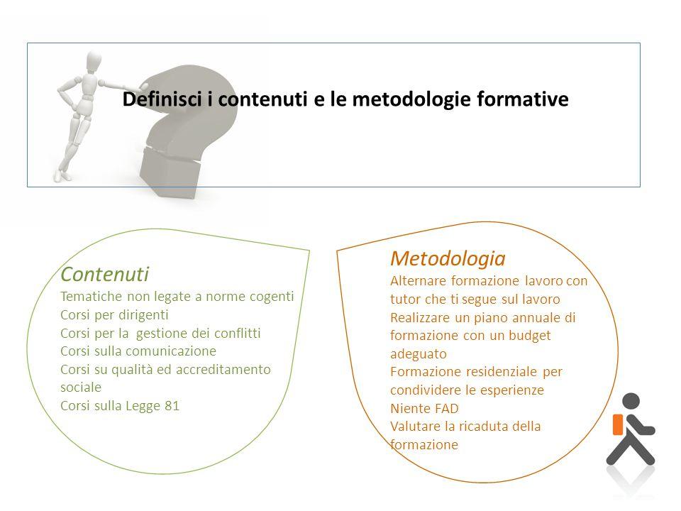 Definisci i contenuti e le metodologie formative Contenuti Tematiche non legate a norme cogenti Corsi per dirigenti Corsi per la gestione dei conflitt