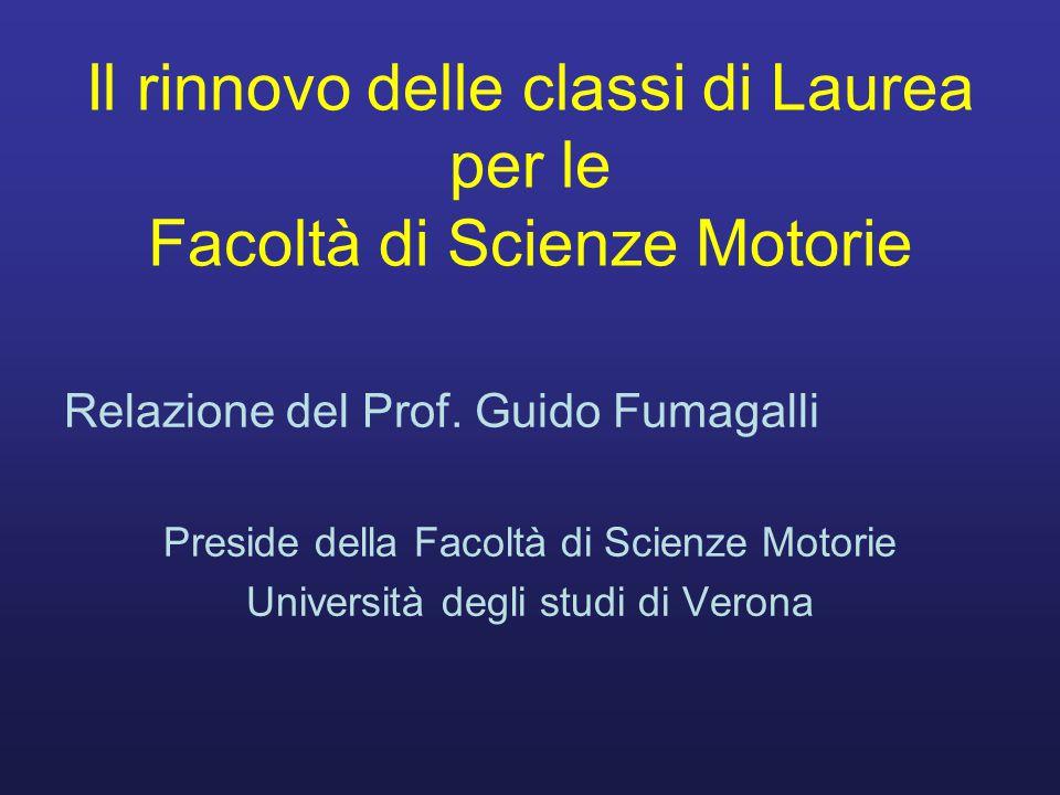 Il rinnovo delle classi di Laurea per le Facoltà di Scienze Motorie Relazione del Prof.