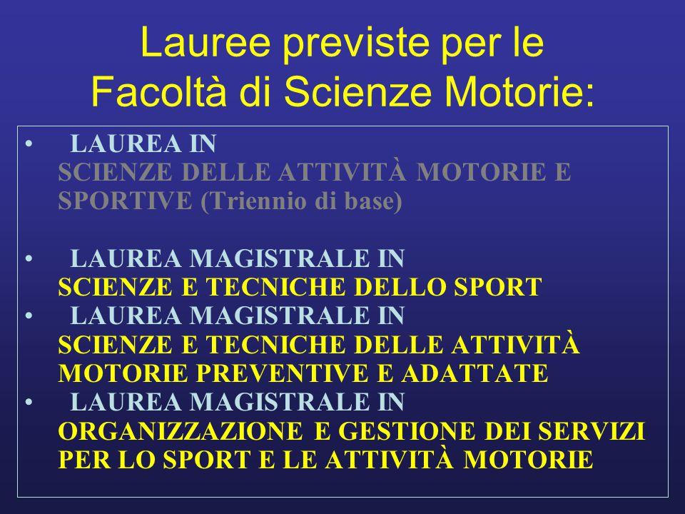 Lauree previste per le Facoltà di Scienze Motorie: LAUREA IN SCIENZE DELLE ATTIVITÀ MOTORIE E SPORTIVE (Triennio di base) LAUREA MAGISTRALE IN SCIENZE E TECNICHE DELLO SPORT LAUREA MAGISTRALE IN SCIENZE E TECNICHE DELLE ATTIVITÀ MOTORIE PREVENTIVE E ADATTATE LAUREA MAGISTRALE IN ORGANIZZAZIONE E GESTIONE DEI SERVIZI PER LO SPORT E LE ATTIVITÀ MOTORIE