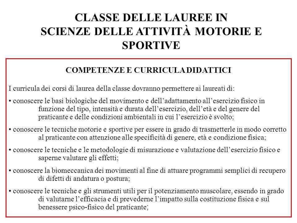 CLASSE DELLE LAUREE MAGISTRALI IN SCIENZE E TECNICHE DELLE ATTIVITÀ MOTORIE PREVENTIVE E ADATTATE