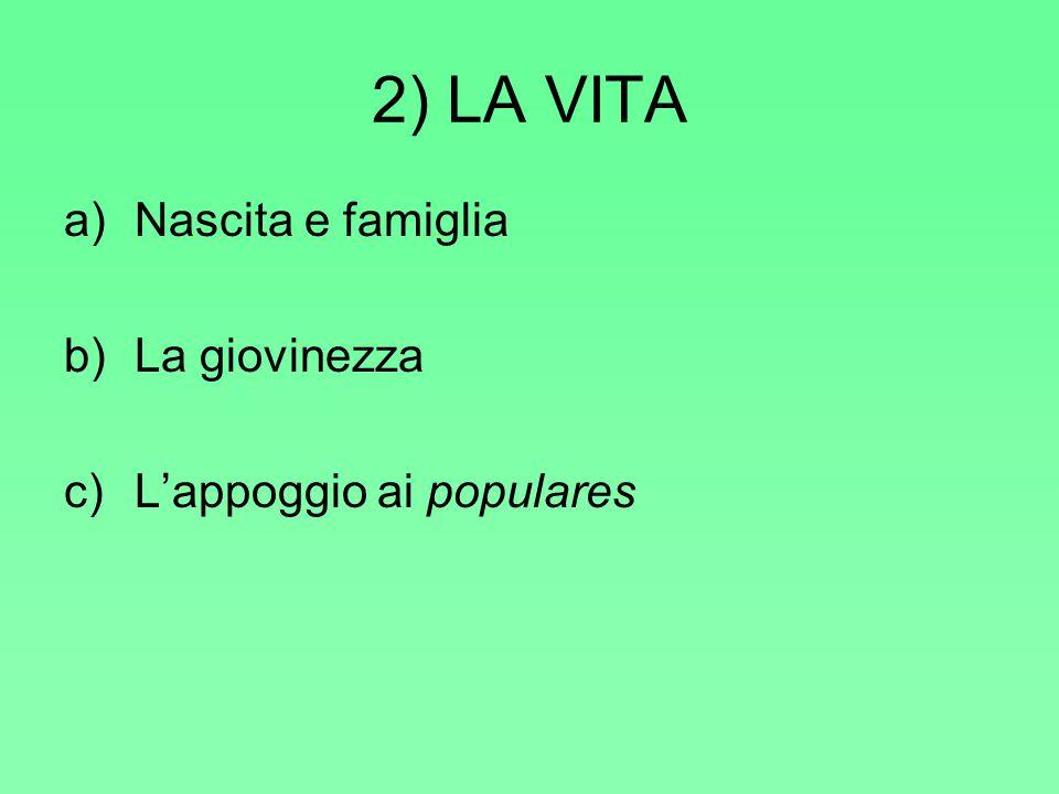 2) LA VITA a)Nascita e famiglia b)La giovinezza c)L'appoggio ai populares
