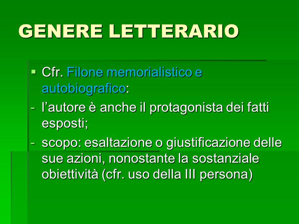GENERE LETTERARIO  Cfr.