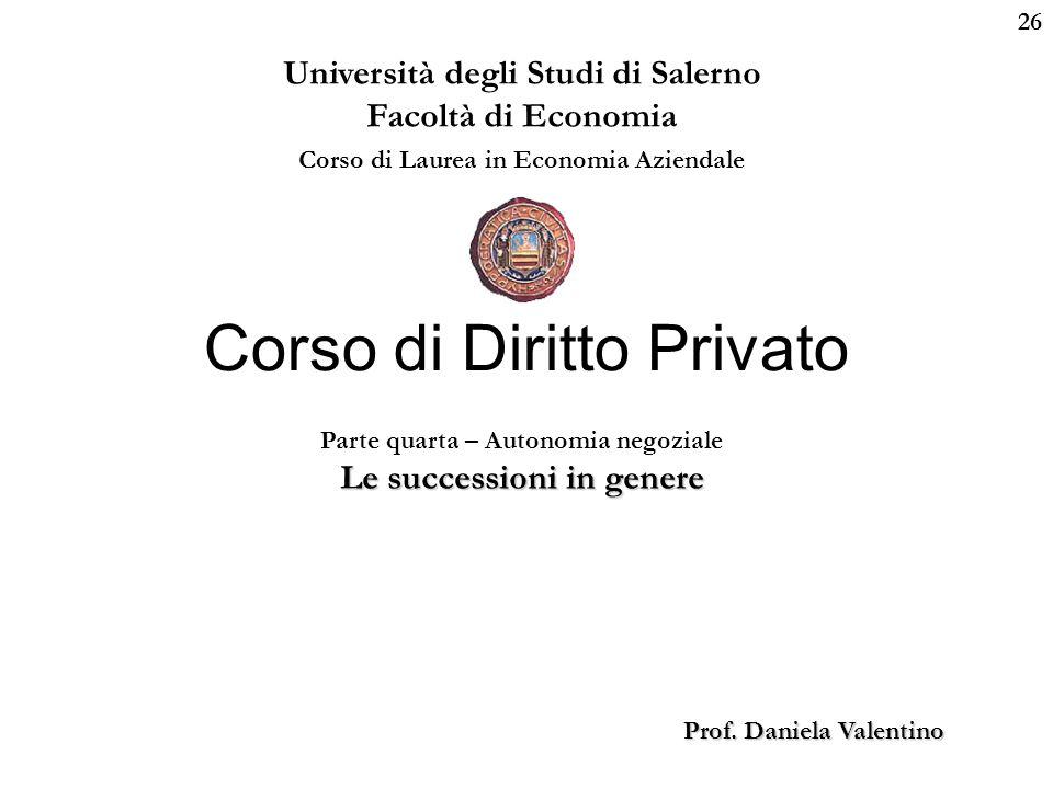 26 Università degli Studi di Salerno Facoltà di Economia Corso di Laurea in Economia Aziendale Prof. Daniela Valentino Corso di Diritto Privato Parte