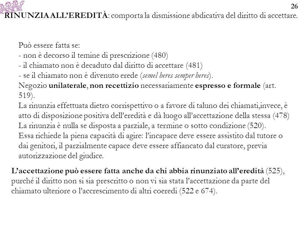 26 RINUNZIA ALL'EREDITÀ: comporta la dismissione abdicativa del diritto di accettare.