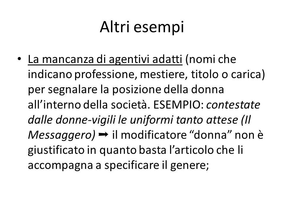 Altri esempi La mancanza di agentivi adatti (nomi che indicano professione, mestiere, titolo o carica) per segnalare la posizione della donna all'interno della società.
