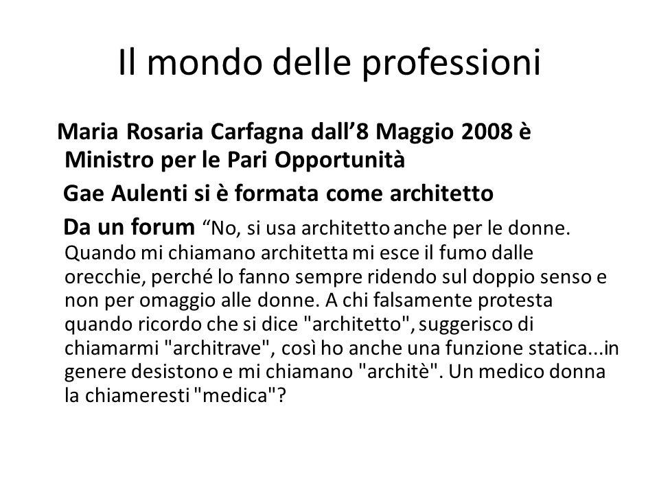 Il mondo delle professioni Maria Rosaria Carfagna dall'8 Maggio 2008 è Ministro per le Pari Opportunità Gae Aulenti si è formata come architetto Da un forum No, si usa architetto anche per le donne.