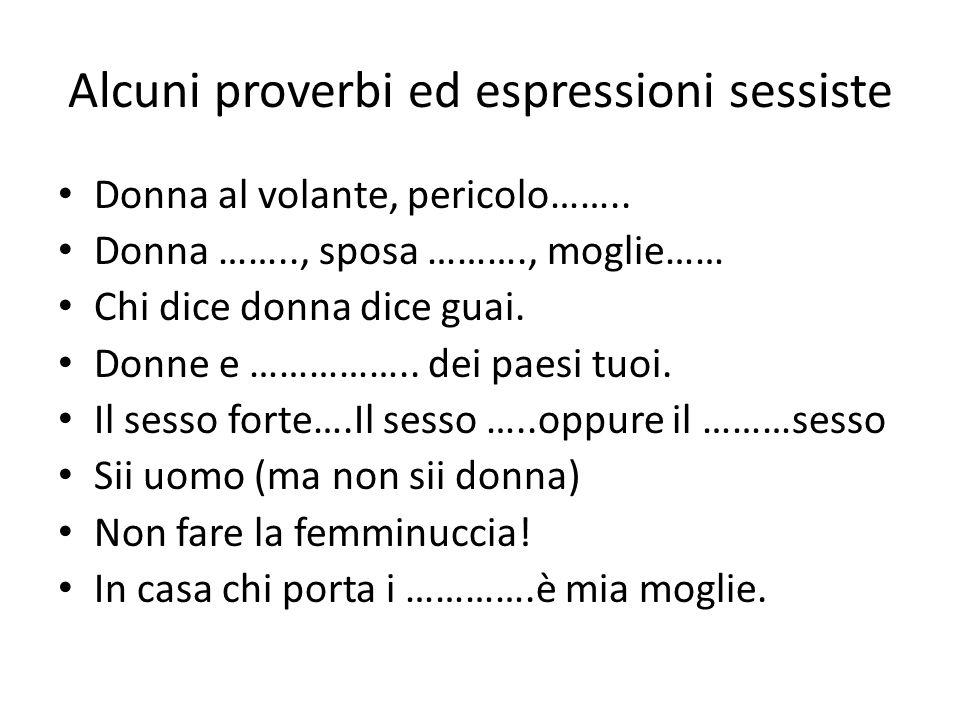 Alcuni proverbi ed espressioni sessiste Donna al volante, pericolo……..