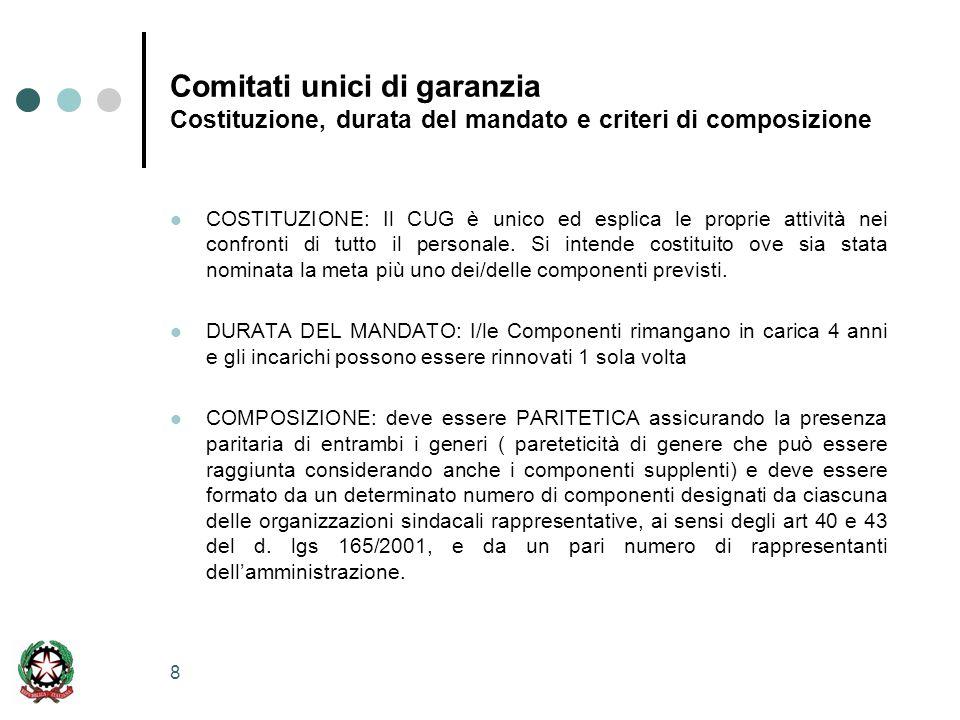 8 Comitati unici di garanzia Costituzione, durata del mandato e criteri di composizione COSTITUZIONE: Il CUG è unico ed esplica le proprie attività nei confronti di tutto il personale.