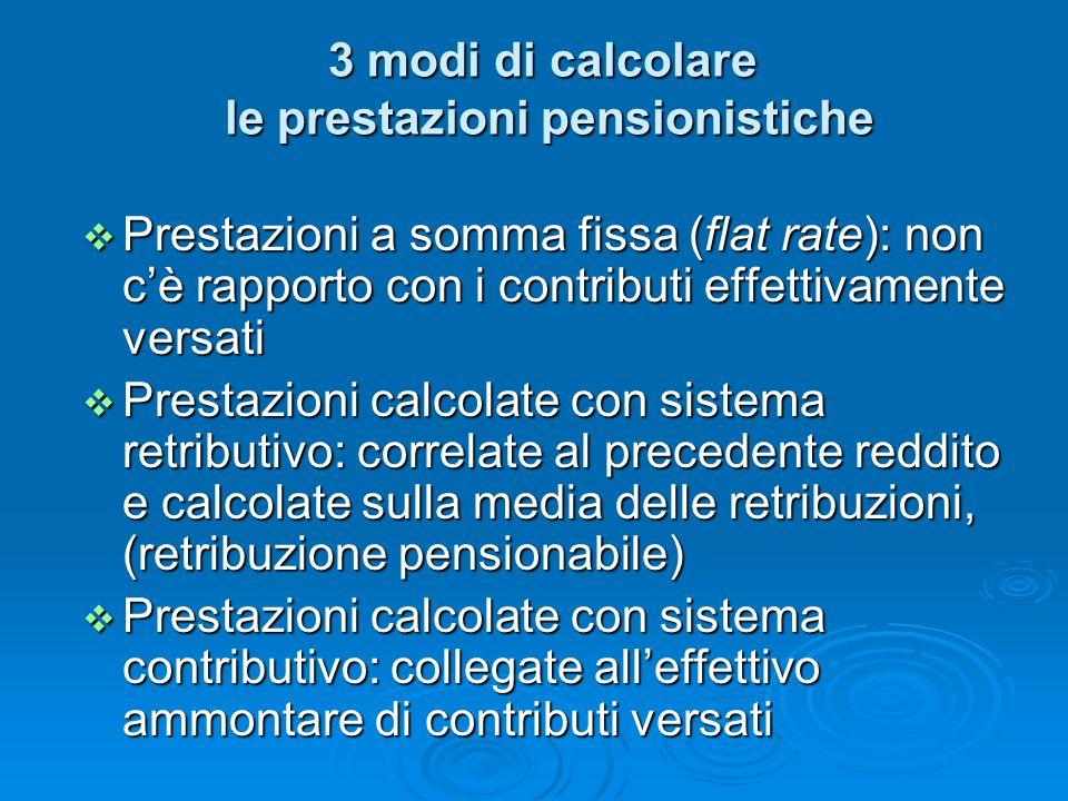 3 modi di calcolare le prestazioni pensionistiche  Prestazioni a somma fissa (flat rate): non c'è rapporto con i contributi effettivamente versati 
