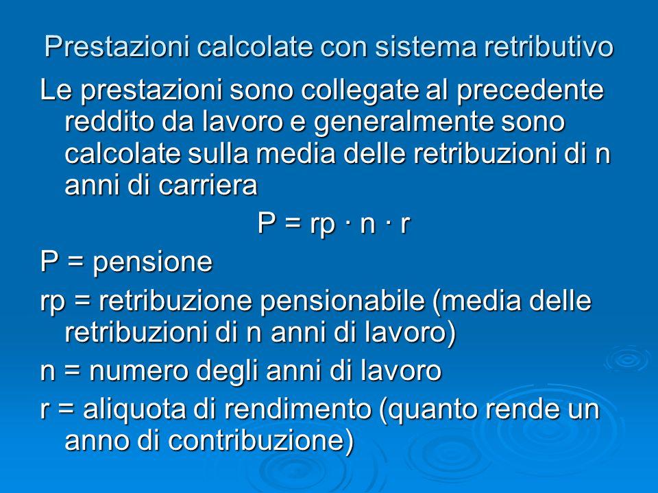 Prestazioni calcolate con sistema retributivo Le prestazioni sono collegate al precedente reddito da lavoro e generalmente sono calcolate sulla media