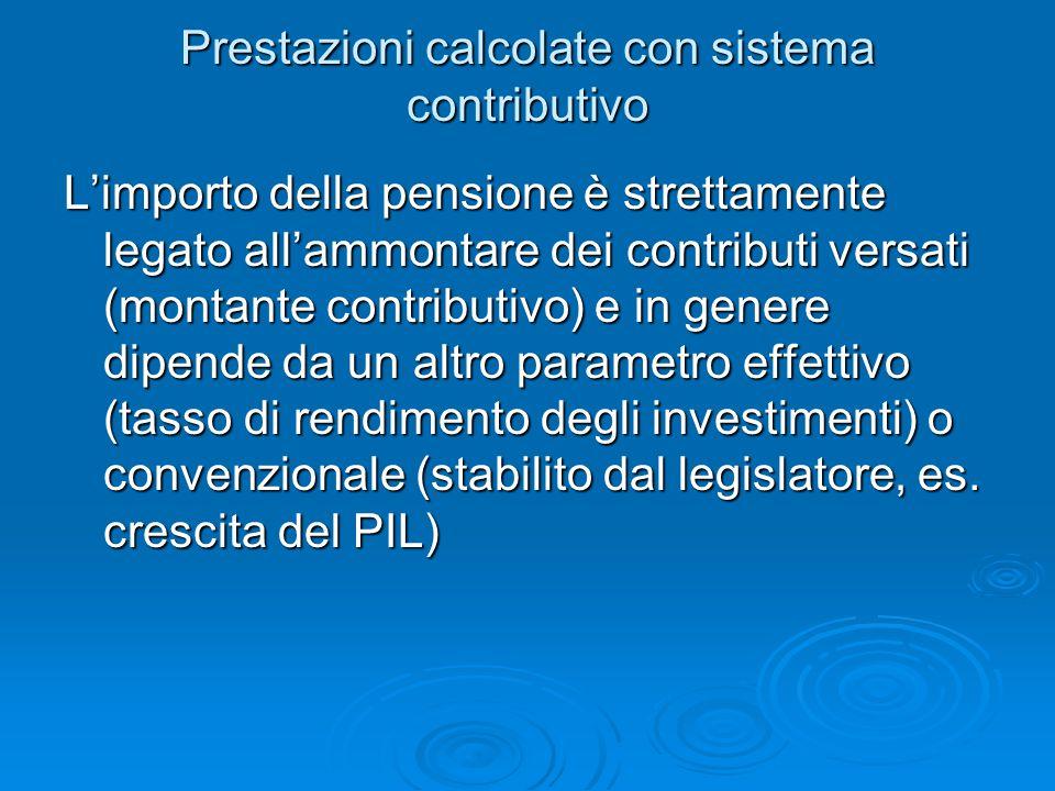 Prestazioni calcolate con sistema contributivo L'importo della pensione è strettamente legato all'ammontare dei contributi versati (montante contribut
